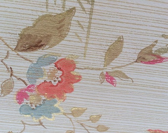 Vintage Wallpaper - Floral Pink Blue Brown with Gold Accents - 1930's - 1 Yard