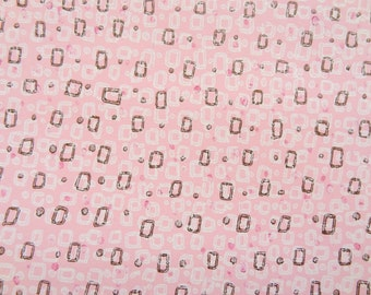 Vintage Wallpaper - Pink Geometric with Gold Accents 1950's - 1 Yard