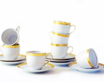 Vintage Espresso Cups and Saucers | Set of Seven | White and Gold | German | Mitterteich | MIT141