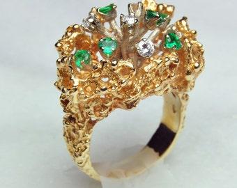 Ladies Vintage 14K Gold & Emerald Bouquet Ring