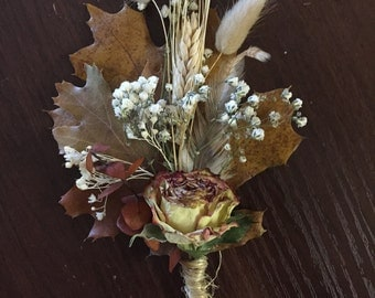 Oak and Rose Natural Boutonniere Corsage - dried flower fall leaves autumn winter burgundy merlot champagne blush wheat ready to ship
