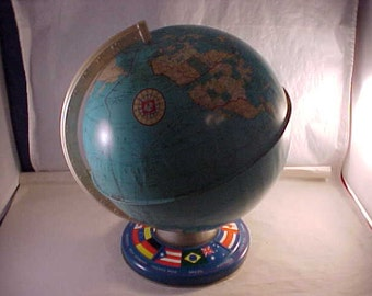 Ohio Art Tin Lithographed World Globe on Stand