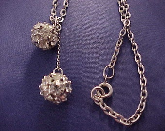 White Rhinestone Ball Necklace