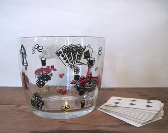 GAME NIGHT! 1960s glass ice bucket with gambling dice, Chess pieces, playing cards, dice + poker chips