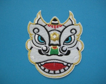 Iron-on Embroidered Patch Chinese Lion Dance (White) 3.5 inch