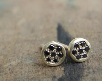 Black Diamond Earrings  - Diamond Studs - Diamond Earrings - Diamond Posts - Gold Studs - Gold Stud Earrings