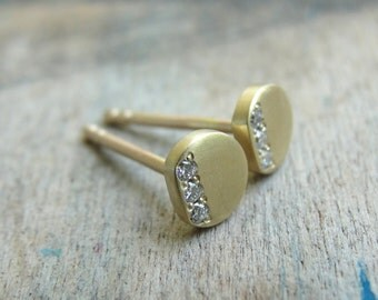 Diamond Nail Earrings - White Diamond Earrings - Diamond Posts - Diamond Studs - Diamond Earrings - Gold Studs - Gold Stud Earrings