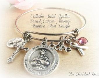 Catholic Saint Agatha Breast Cancer Survivor Prayer Stainless Steel Bangle - Awareness - Cancer  - Pink Swarovski