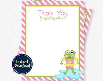 Frog Thank You, Birthday Thank You Cards, Pool Party Thank You Notes, Splash Party Printable INSTANT DOWNLOAD