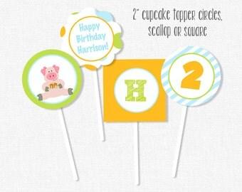 Pancake Pig Cupcake Toppers, Pancake Party Decorations, Pig Birthday, Pig Birthday Cupcake Toppers, Printable Cupcake Toppers