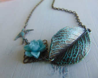 Leaf And Sparrow Necklace