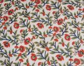 Red Oleander Natural Dye Cotton Printed Fabric - half metre