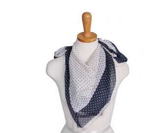 30% off sale // Vintage 60s Fashion Scarf - Blue and White Polkadots - Large