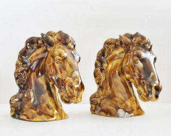 BLOWOUT 40% off sale Vintage 60s Horse Head Set of Two Bookend Figurines - Marble Brown - Ceramic