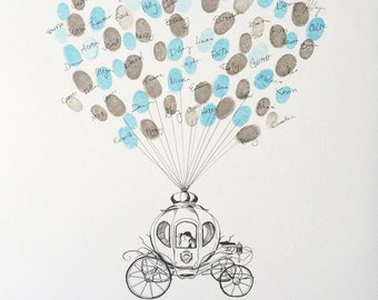 Wedding Guest Book Alternative, Fairytale Carriage, Thumbprint Balloon, Birthday Party Guest Book, like Fingerprint tree, Whimsical Shower