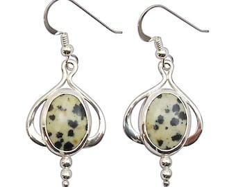 Dalmatian Jasper Dangle Earrings Set in Sterling Silver  edale2705