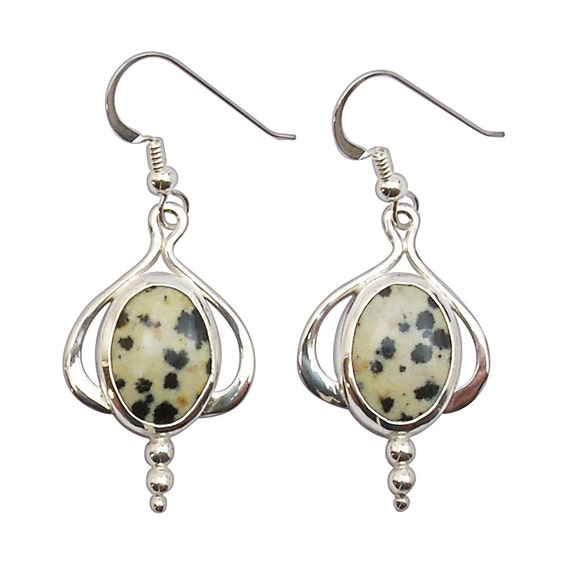 Dalmatian Jasper Dangle Earrings Set in Sterling Silver  edale2705
