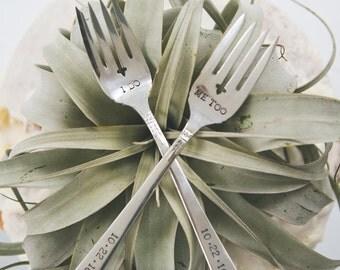 I DO, ME TOO Vintage Wedding Cake Forks (Matching Set)