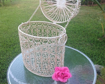 Vintage Chippy Metal Laundry Hamper / Shabby Chic Chippy metal Scroll hamper / Container Attached lid / Cottage Style at Retro Daisy Girl