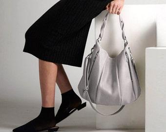 Soft Gray Leather Handbag OPELLE Lotus Bag in Akoya