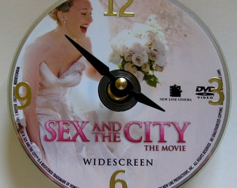 DVD clock. Sex and the City.  Sex and the City clock. Small clock. Small wall clock. Chick flick. Movie clock.