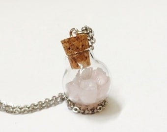 Rose Quartz Crystals In A bottle, Stainless Steel Necklace for sensitive skin, hypoallergenic, 22 inches, healing crystal
