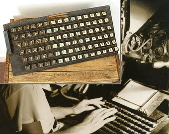 1950s Linotype Training Keyboard / Rare Historic Wooden Practice Keyboard
