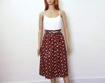 1970s Vintage Skirt Dark Brown Floral Gathered Boho High Waist Skirt / Extra Small