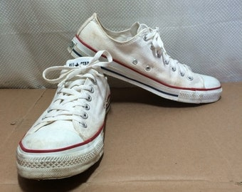 1990's White Converse Allstars size 11.5 made in USA Chuck Taylors Chucks low top