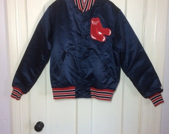 deadstock Vintage 1980's Boston Red Sox Baseball Team Starter Jacket satin bomber size Medium original Logo patch