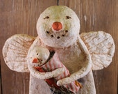 Primitive Snowman Angel carrying Baby Snowman, OOAK, Papier Mache, Vintage Crazy Quilt