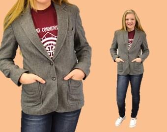 Wool blazer jacket schoolboy gray basic vintage classic basic capusle small evan picone 80s ingridiceland hipster collegiate