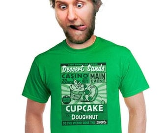 foodie t-shirt funny food tshirt cupcake vs doughnut humorous gift for bakers cooks chefs baking shirt sweetooth mens tees small medium 4x 2