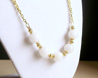 Natural Snow Quartz Beaded Necklace, Classic White with Gold, Gemstone Jewelry