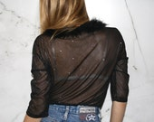 Vintage 90's Sparkly Sheer Top with Fluffy Detail