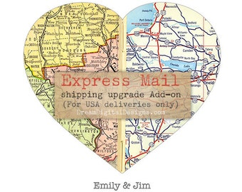 Add Express Mail USA Delivery to Personalized Map Art orders,  Add-on for Custom Map Print