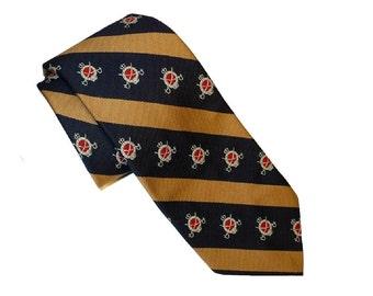 Vintage 1940s Necktie, Blue Stripe Heraldic Tie by Regal