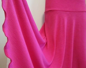 """Ladies'  Modest Solid PINK Polyester Rayon Spandex Stretch Knit Jersey Maxi Skirt for Missionary, Travel or Leisure, M/L, 36"""" long"""