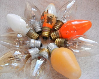 Vintage Orange, White and Clear Christmas Bulbs Lot of 10 old fashioned style use for crafts untested