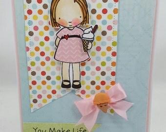 IceCream Summertime Girl Blank NoteCard, Greetings Card, Handmade Card
