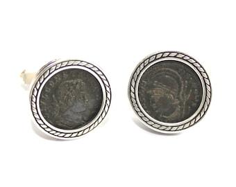Winter Sale Ancient Roman Constantine Coin Hand Made 925 Silver Cufflinks