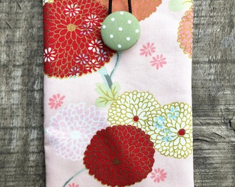 Vintage Japanese blossom in Pink/ iPhone 7 Plus Padded Sleeve/Handmade iphone padded Sleeve/ Samsung Galaxy Note Case