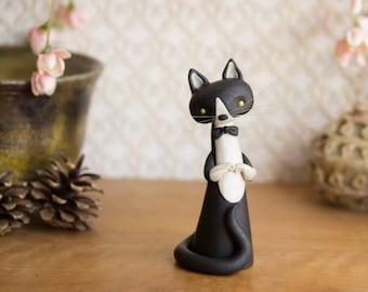Tuxedo Cat - Black and White Cat Figurine by Bonjour Poupette