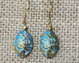 Blue Enamel with Gold Veining Earrings