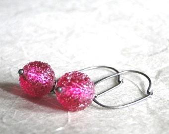 Jewelry / Earrings / Frosted Cherry Glass Earrings / Oxidized Sterling Silver Hoops / Simple Classic Earrings / Dangle Earrings
