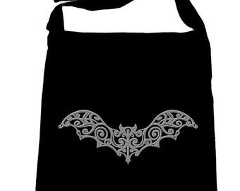 Grey Wrought Iron Vampire Bat Black Sling Cross Body Bag