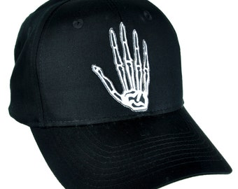 Skeleton Bone Hand Black Baseball Cap Hat