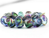 Sheribeads Glass Beads 12 Rainbow Prism Twist Spacers Lampwork Transparent