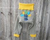 Upcycled  Wool Longies Soaker Cover Diaper Cover With Added Doubler Taupe & Mustard Yellow With Tree Applique LARGE 12-24M