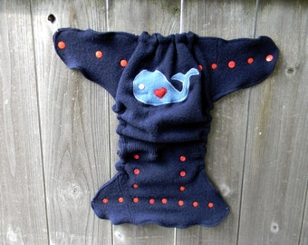 Upcycled Wool Nappy Cover Diaper Cover Wool Wrap Cloth Diaper Cover One Size Fits Most Navy Blue With Whale Applique/ Navy Blue